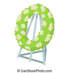Memorial wreath icon, cartoon style - Memorial wreath icon....