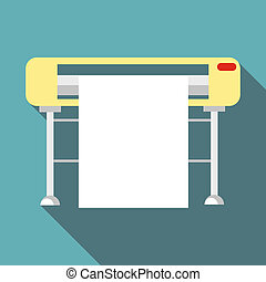 Printer icon, flat style - Printer icon. Flat illustration...