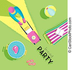 Poster backyard party - Backyard party poster with lawnmower...