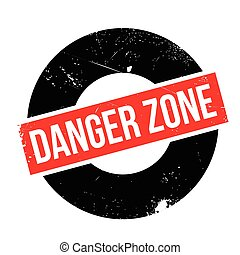 Danger Zone rubber stamp. Grunge design with dust scratches....