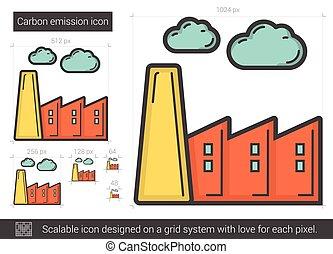 Carbon emission line icon. - Carbon emission vector line...
