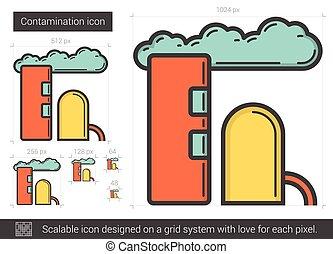 Contamination line icon. - Contamination vector line icon...