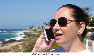 Video of woman talking on the phone - High quality video of...
