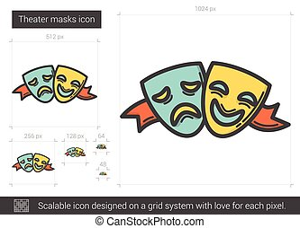 Theater masks line icon. - Theater masks vector line icon...