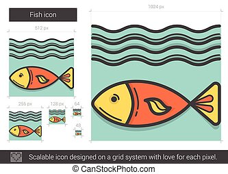 Fish line icon. - Fish vector line icon isolated on white...
