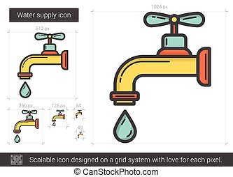Water supply line icon. - Water supply vector line icon...