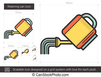 Watering can line icon. - Watering can vector line icon...