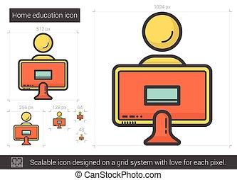 Home education line icon. - Home education vector line icon...