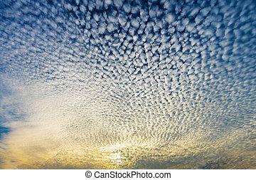 Cloudscape with altocumulus clouds, Altocumulus...
