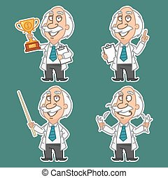Professor in various poses set stickers 1 - Illustration,...