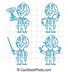 Professor doodle concept set 1