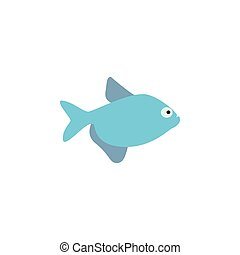 Cute fish vector illustration icons set. Fish flat style...