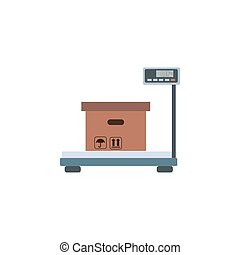 Delivery goods with dolly. Vector cargo illustration