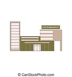 Supermarket building where buying products. For game, ui, app. Vector