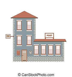 Building exterior of Post Office. Vector illustration eps10