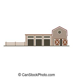 Farm garage isolated image. Flat building Vector