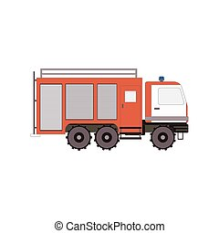 Firetruck for game, ui, app on a white background. Vector...