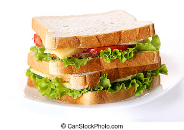 fresh sandvich with vegetables and tomatoes - fresh sandvich...