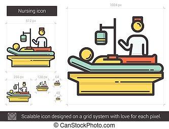 Nursing line icon. - Nursing vector line icon isolated on...