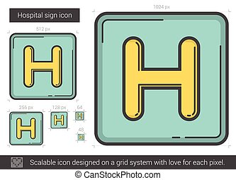 Hospital sign line icon. - Hospital sign line icon for...