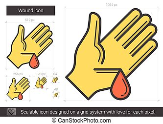 Wound line icon. - Wound vector line icon isolated on white...