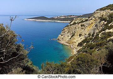 Amazing small beach with blue waters in Thassos island, East...
