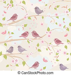 cute seamless texture with pretty birds on branch of sakura