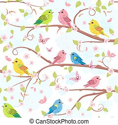 cute seamless texture with pretty birds on branch of sakura. lov