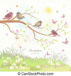 cute greeting card with birds on branch tree and butterflies