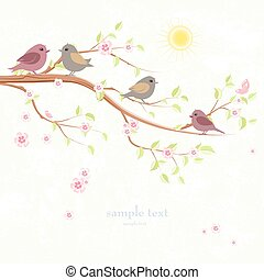 greeting card with enamored birds on branch of sakura