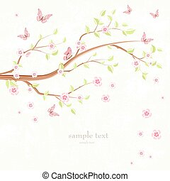 greeting card with branch of sakura and flying butterflies aroun
