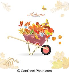 garden cart with mushrooms and autumn forest flora for your desi