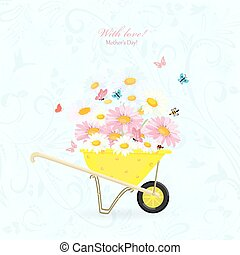 invitation card with funny garden wheelbarrow of flowers and but