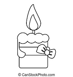 easter candle with ribbon bow decoration thin line