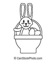 easter rabbit inside egg basket thin line vector...
