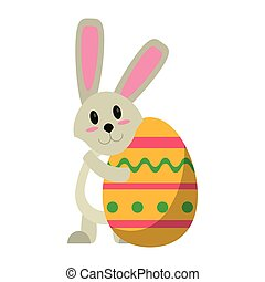 easter rabbit hugging egg