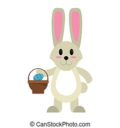 easter bunny with basket egg