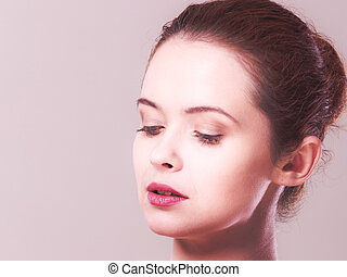 Woman face with natural make up