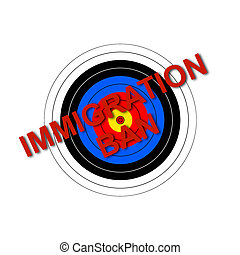 Target Immigration Ban - Sport target illustration with the...