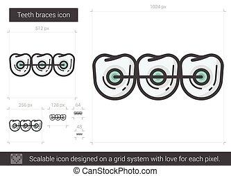 Teeth braces line icon. - Teeth braces vector line icon...