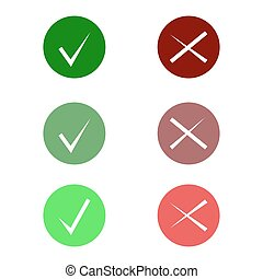 Tick icon set. Stylish check mark icon set in green and red color, vector b