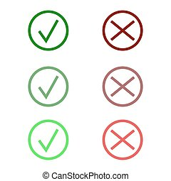 Tick icon set. Stylish check mark icon set in green and red color, vector