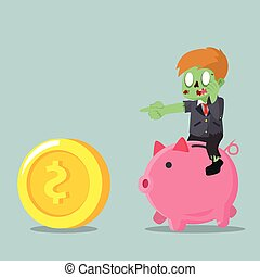 zombie businessman riding piggybank chasing coin