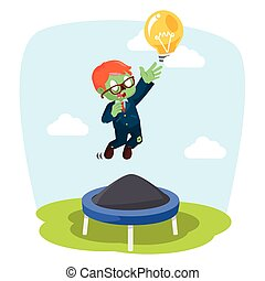 zombie businessman jumping on trampoline