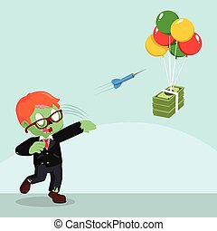 zombie businessman throwing darts to flying money