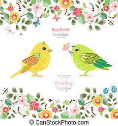 invitation card with colorful birds for your design