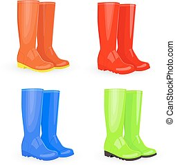 nice collection of rubber boots different colors