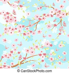 blue sky with branches blossom of cherry. seamless texture for f