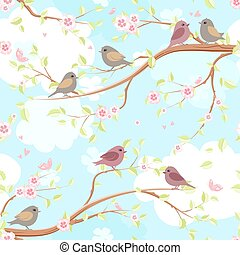 seamless texture with funny birds on branches blossom of cherry.
