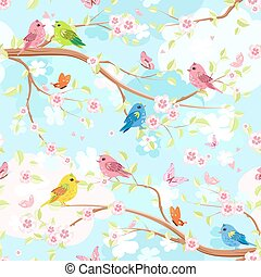 colorful seamless texture with enamored birds on branches blosso